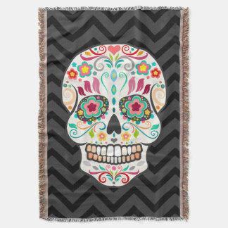 Feliz Muertos - Festive Sugar Skull Throw Blanket