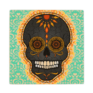 Feliz Muertos - Festive Sugar Skull Wood Coasters Wood Coaster