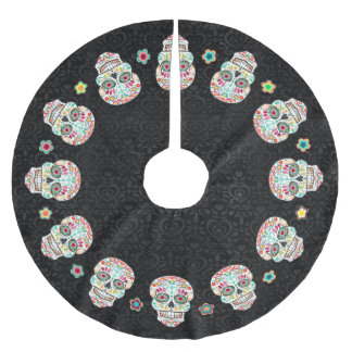 Feliz Muertos - Festive Sugar Skulls Brushed Polyester Tree Skirt