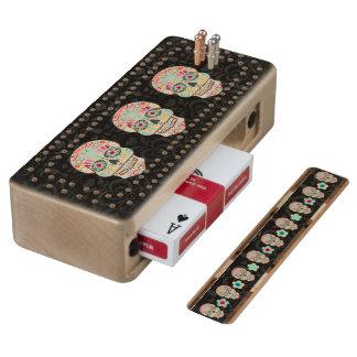 Feliz Muertos - Festive Sugar Skulls Cribbage Game Wood Cribbage Board