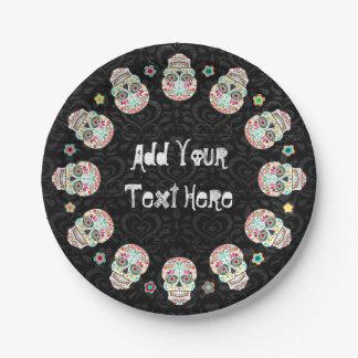 Feliz Muertos - Festive Sugar Skulls Custom Paper Plate