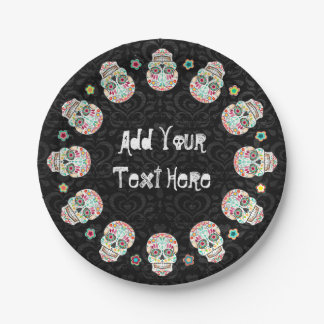 Feliz Muertos - Festive Sugar Skulls Custom 7 Inch Paper Plate