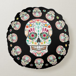 Feliz Muertos - Festive Sugar Skulls Round Pillow