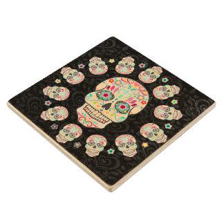 Feliz Muertos - Festive Sugar Skulls Wood Coasters Maple Wood Coaster