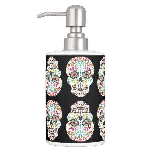 feliz muertos happy sugar skull pattern bath set zazzle. Black Bedroom Furniture Sets. Home Design Ideas