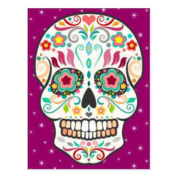creativetaylor Feliz Muertos - Happy Sugar Skull Postcard
