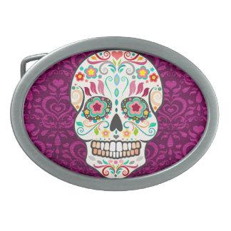 Feliz Muertos - hebilla del cinturón festiva del Hebilla De Cinturon Oval