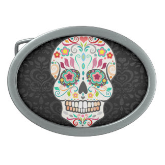 Feliz Muertos - hebilla del cinturón festiva del Hebillas De Cinturon Ovales