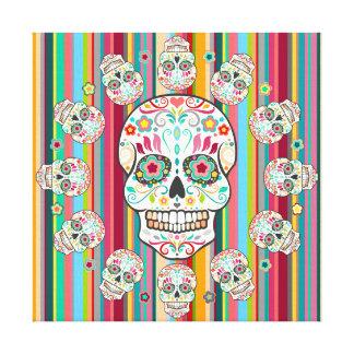 Feliz Muertos - los cráneos del azúcar estiraron a Impresiones De Lienzo