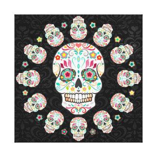 Feliz Muertos - los cráneos del azúcar estiraron a Lona Envuelta Para Galerías