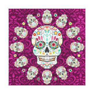 Feliz Muertos - los cráneos del azúcar estiraron a Impresión En Lona