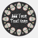 Feliz Muertos - pegatinas de encargo del cráneo Etiquetas Redondas