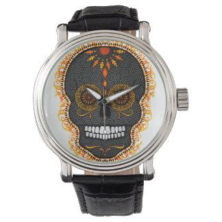 Feliz Muertos - reloj festivo del cráneo del