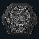 "Feliz Muertos - Sugar Skull Black Bluetooth Speaker<br><div class=""desc"">This fun &amp; funky speaker features an ornate sugar skull - click CUSTOMIZE to change background color</div>"