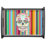 Feliz Muertos - Sugar Skull & Stripes Serving Tray