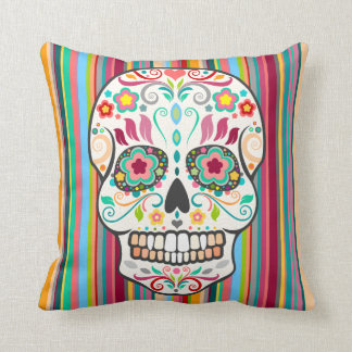 Feliz Muertos - Sugar Skull & Stripes Throw Pillow