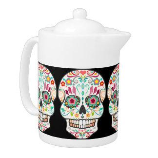 Feliz Muertos - tetera festiva de los cráneos del