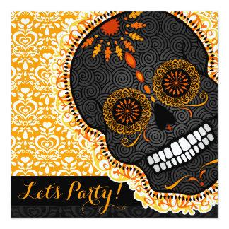 Feliz Muertos Tilted Orange and Black Sugar Skull Card