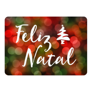 Feliz Natal bokeh tree lights Card