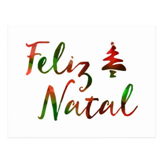Feliz Natal bokeh tree lights Postcard