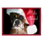 Feliz Natal Boxer dog greeting card