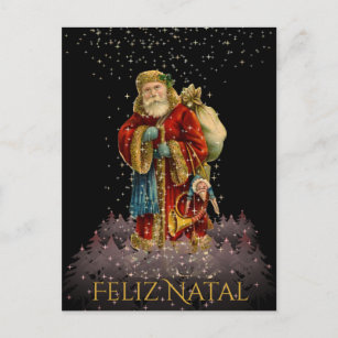 Brazil christmas cards zazzle feliz natal brazil christmas vintage santa stars holiday postcard m4hsunfo