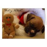 Feliz Natal Christmas Boxer Puppy greeting card