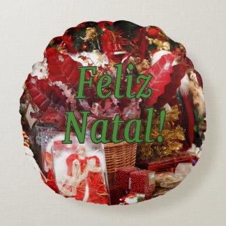 ¡Feliz natal! Felices Navidad en gf portugués Cojín Redondo