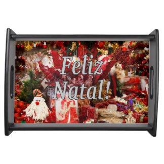 ¡Feliz natal! Felices Navidad en wf portugués Bandejas