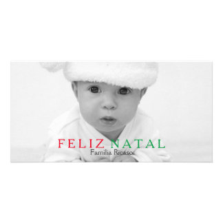 Feliz Natal Green Red Typography Christmas Card