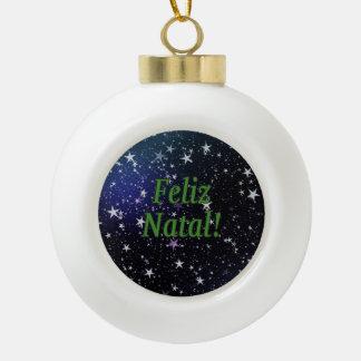 Feliz Natal! Merry Christmas in Portuguese gf Ceramic Ball Christmas Ornament