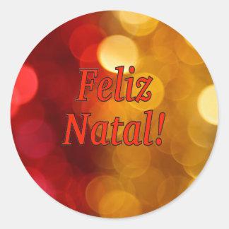Feliz Natal! Merry Christmas in Portuguese rf Classic Round Sticker