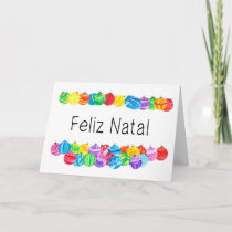 Feliz Natal Portuguese Christmas , watercolor Holiday Card