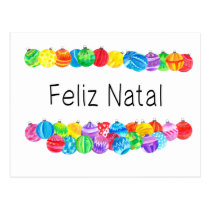 Feliz Natal Portuguese Christmas , watercolor Postcard