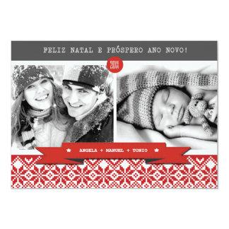 """Feliz natal. Tarjetas portuguesas de la foto del Invitación 5"""" X 7"""""""
