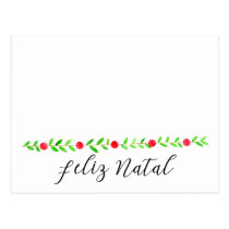 Feliz Natal, watercolor Christmas banner Postcard