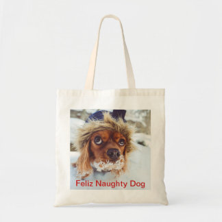 Feliz Naughty Dog Captioned Christmas Pet Photo Tote Bag