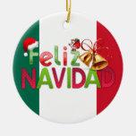 Feliz Navidad Adorno Navideño Redondo De Cerámica