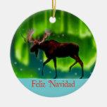 Feliz Navidad - alce de la aurora boreal Ornamente De Reyes