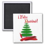 Feliz Navidad - árbol de navidad con la cinta roja Imán Cuadrado