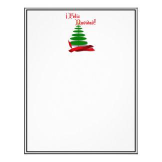 Feliz Navidad - árbol de navidad con la cinta roja Membrete