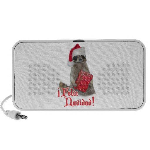 Feliz Navidad - bandido del mapache del navidad iPod Altavoz