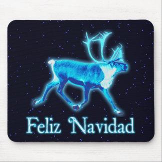 Feliz Navidad - Blue Caribou (Reindeer) Mouse Pad
