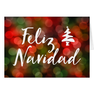 Feliz Navidad (bokeh lights) Card