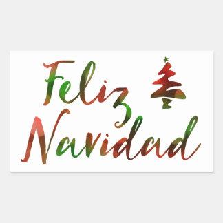 Feliz Navidad (bokeh tree lights) Rectangular Sticker
