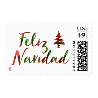 Feliz Navidad (bokeh tree lights) Stamp