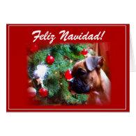Feliz Navidad Boxer puppy greeting card