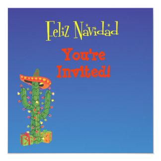 Feliz Navidad Cactus with Sombero Christmas Card