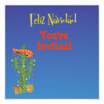 Feliz Navidad Cactus with Sombero Christmas 5.25x5.25 Square Paper Invitation Card