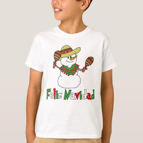 Feliz Navidad Cartoon Snowman Sombrero Maracas T_Shirt